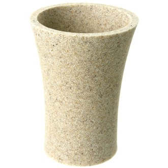 Toothbrush Holder Round Toothbrush Holder Made From Stone in Natural Sand Finish Gedy AU98-03