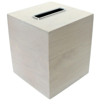 Tissue Box Cover Made From Wood In White Finish Gedy Pa02 02