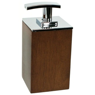 Soap Dispenser Square Short Brown Soap Dispenser in Wood Gedy PA81-31