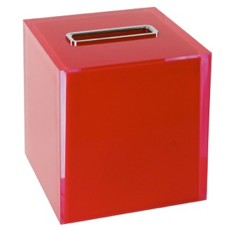 Tissue Box Cover Thermoplastic Resin Square Tissue Box Cover in Red Finish Gedy RA02-06