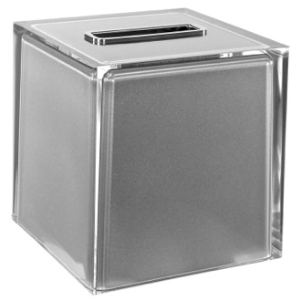 Tissue Box Cover Thermoplastic Resin Square Tissue Box Cover in Silver Finish Gedy RA02-73