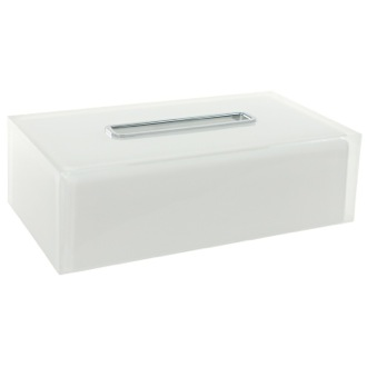 Tissue Box Cover Thermoplastic Resin Rectangular Tissue Box Cover in White Finish Gedy RA08-02