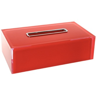Tissue Box Cover Thermoplastic Resin Rectangular Tissue Box Cover in Red Finish Gedy RA08-06