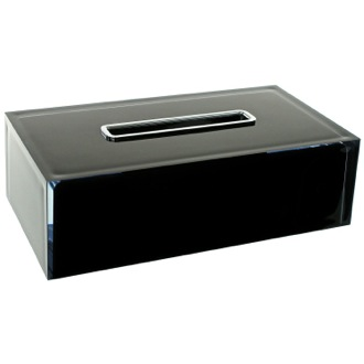 Tissue Box Cover Thermoplastic Resin Rectangular Tissue Box Cover in Black Finish Gedy RA08-14