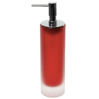 Soap Dispenser Free Standing Red Soap Dispenser in Glass Gedy TI80-06