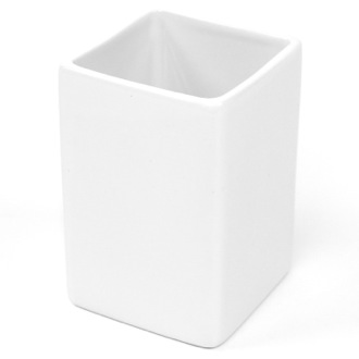 Toothbrush Holder Square White Pottery Toothbrush Holder Gedy VE98-02