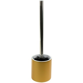 Toilet Brush Steel and Gold Round Free Standing Toilet Brush Holder in Resin Gedy YU33-87