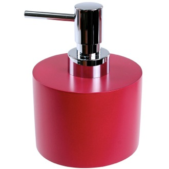 Soap Dispenser Ruby Red Short and Round Soap Dispenser in Resin Gedy YU81-53