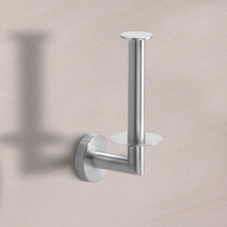 Toilet Paper Holder Round Brushed Nickel Vertical Toilet Paper Holder Gedy 5024-02-38