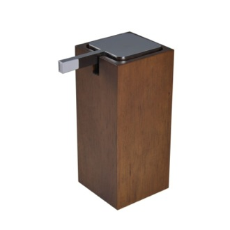 Soap Dispenser Tall Square Brown Soap Dispenser in Wood Gedy PA80-31