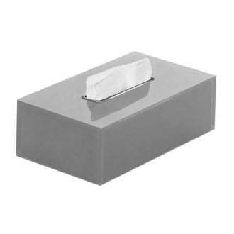 Tissue Box Cover Thermoplastic Resin Rectangular Tissue Box Cover in Silver Finish Gedy RA08-73