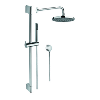 Shower System Chrome Shower System with Hand Shower with Sliding Rail, Showerhead, and Water Connection Gedy SUP1010