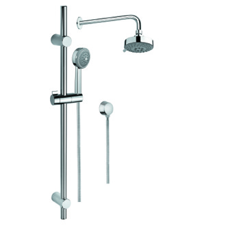 Shower System Shower System in Chrome with Hand Shower with Sliding Rail, Showerhead, and Water Connection Gedy SUP1012