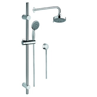 Shower System Chrome Shower System with Hand Shower and Sliding Rail, Showerhead, and Water Connection Gedy SUP1018