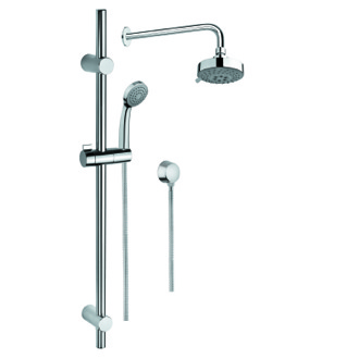Shower System Shower Solution in Chrome with Hand Shower and Sliding Rail, Showerhead, and Water Connection Gedy SUP1033