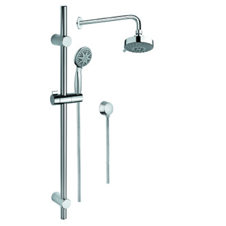 Shower System Chrome Shower Solution with Hand Shower and Sliding Rail, Showerhead, and Water Connection Gedy SUP1034