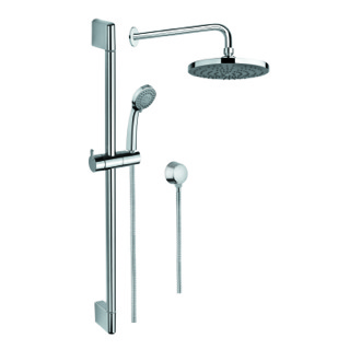 Shower System Polished Chrome Shower System with Hand Shower and Sliding Rail, Showerhead, and Water Connection Gedy SUP1036