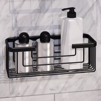 Shower Basket Matte Black Shower Basket Gedy 2419-14