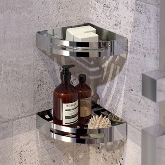 Shower Basket Set of Chrome Corner Shower Baskets Gedy 2479B-13