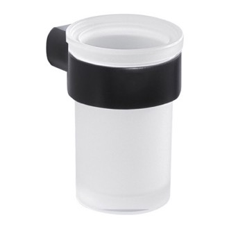 Toothbrush Holder Wall Satin Glass Toothbrush Holder With Matte Black Mount Gedy PI10-14