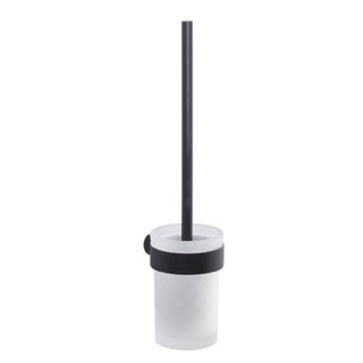 Toilet Brush Wall Mounted Frosted Glass Toilet Brush With Matte Black Mount Gedy PI33-03-14