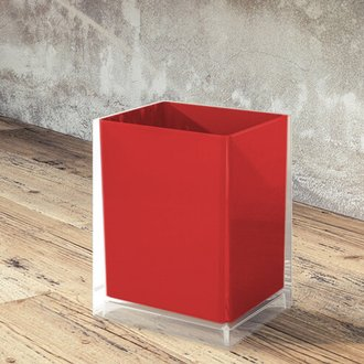 Waste Basket Free Standing Waste Basket With No Cover in Red Finish Gedy RA09-06