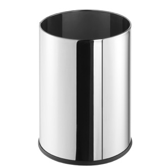 Waste Basket Free Standing Round Polished Stainless Steel Waste Bin Geesa 640