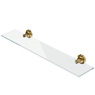 Bathroom Shelf Wall Mounted Gold Brass and Glass Bathroom Shelf Geesa 7301-04-60