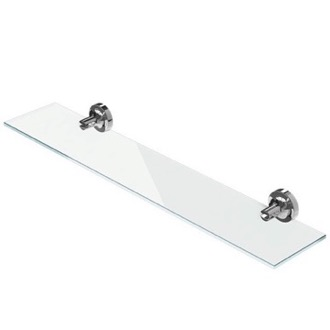 Bathroom Shelf Wall Mounted Chrome Brass and Glass Bathroom Shelf Geesa 7301-02-60