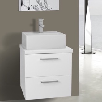 Bathroom Vanity 19 Inch Glossy White Small Vessel Sink Bathroom Vanity, Wall Mounted Iotti AN14