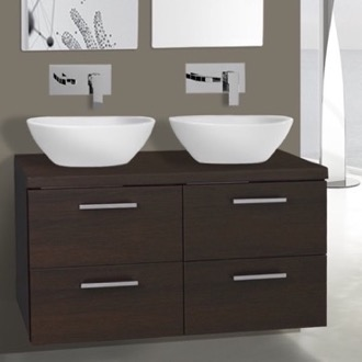 Bathroom Vanity 37 Inch Wenge Double Vessel Sink Bathroom Vanity, Wall Mounted Iotti AN29