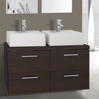 Bathroom Vanity 37 Inch Wenge Double Vessel Sink Bathroom Vanity, Wall Mounted Iotti AN30