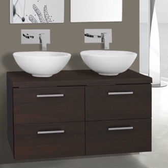Bathroom Vanity 37 Inch Wenge Double Vessel Sink Bathroom Vanity, Wall Mounted Iotti AN32