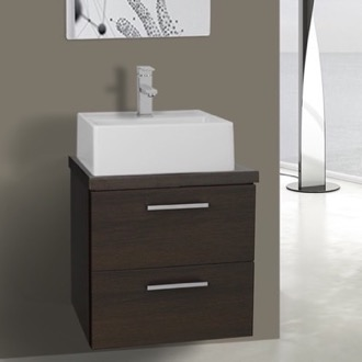 Bathroom Vanity 19 Inch Wenge Small Vessel Sink Bathroom Vanity, Wall Mounted Iotti AN18