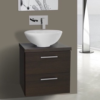 Bathroom Vanity 19 Inch Wenge Small Vessel Sink Bathroom Vanity, Wall Mounted Iotti AN20