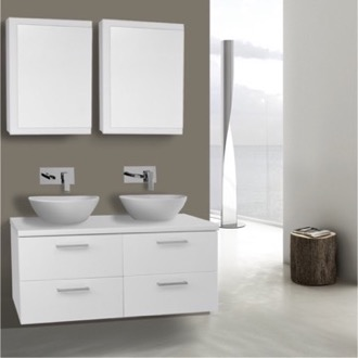 Bathroom Vanity 45 Inch Glossy White Double Vessel Sink Bathroom Vanity, Wall Mounted, Medicine Cabinets Included Iotti AN412