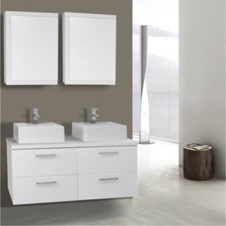 Bathroom Vanity 45 Inch Glossy White Double Vessel Sink Bathroom Vanity, Wall Mounted, Medicine Cabinets Included Iotti AN422