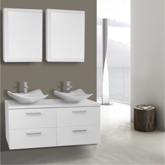 Bathroom Vanity 45 Inch Glossy White Double Vessel Sink Bathroom Vanity, Wall Mounted, Medicine Cabinets Included Iotti AN427