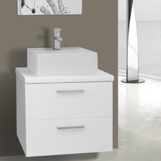 Bathroom Vanity 22 Inch Glossy White Vessel Sink Bathroom Vanity, Wall Mounted Iotti AN39