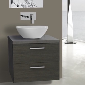 Bathroom Vanity 22 Inch Grey Oak Vessel Sink Bathroom Vanity, Wall Mounted Iotti AN45