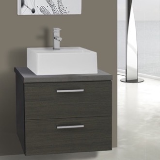 Bathroom Vanity 22 Inch Grey Oak Vessel Sink Bathroom Vanity, Wall Mounted Iotti AN47