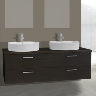 Bathroom Vanity 61 Inch Wenge Double Vessel Sink Bathroom Vanity, Wall Mounted Iotti AN78