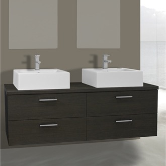 Bathroom Vanity 61 Inch Grey Oak Double Vessel Sink Bathroom Vanity, Wall Mounted Iotti AN81