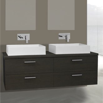 Bathroom Vanity 61 Inch Grey Oak Double Vessel Sink Bathroom Vanity, Wall Mounted Iotti AN83