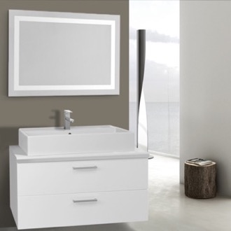 Bathroom Vanity 38 Inch Glossy White Bathroom Vanity, Wall Mounted, Lighted Mirror Included Iotti AN2166