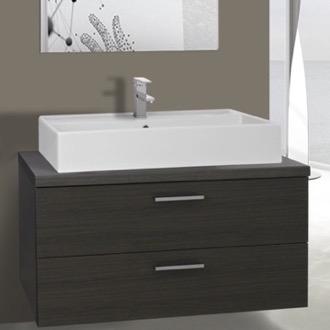 Bathroom Vanity 38 Inch Grey Oak Vessel Sink Bathroom Vanity, Wall Mounted  Iotti AN94