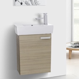 Bathroom Vanity 19 Inch Larch Canapa Wall Mount Bathroom Vanity with Fitted Ceramic Sink ACF C140