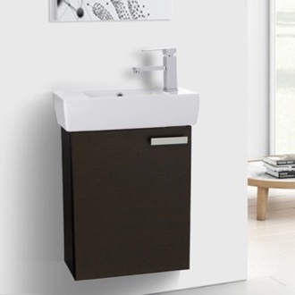 Bathroom Vanity 19 Inch Wenge Wall Mount Bathroom Vanity with Fitted Ceramic Sink ACF C138