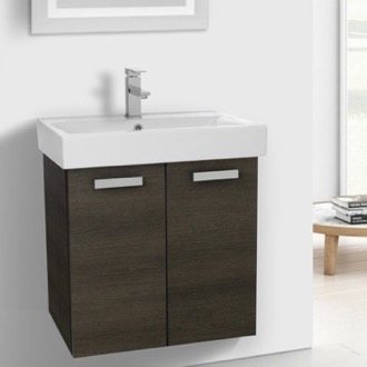 Bathroom Vanity 24 Inch Grey Oak Wall Mount Bathroom Vanity with Fitted Ceramic Sink ACF C143
