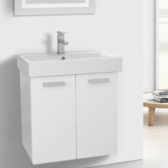Bathroom Vanity 24 Inch Glossy White Wall Mount Bathroom Vanity with Fitted Ceramic Sink ACF C141